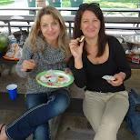 the ladies enjoying the desserts in Malton, Ontario, Canada