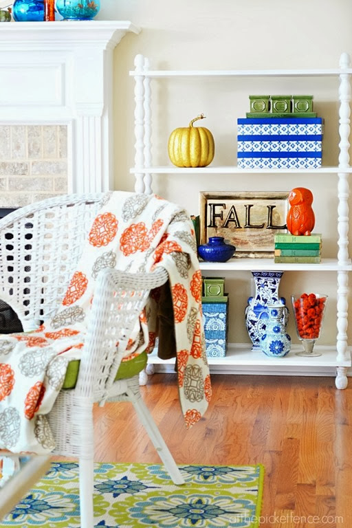 blue-gold-and-orange-fall-touches-on-bookcase-