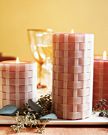 Transform basic pillar candles with strips of beeswax and a simple under-and-over weave.