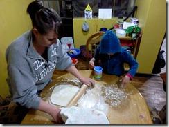 Kristen making rolls