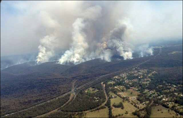 Aerial view of the Hall Road Fire, Balmoral Village, NSW, Australia, 17 October 2013. Photo: NSW RFS