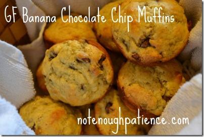 GF banana choc chip muffins