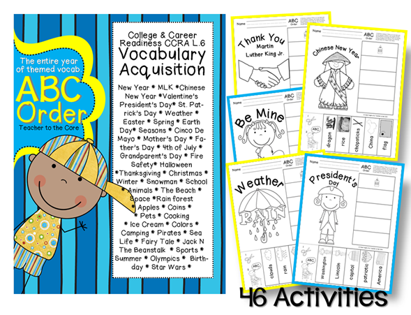 ABC Order is a great way to meet the Common Core requirement for vocabulary acquisition