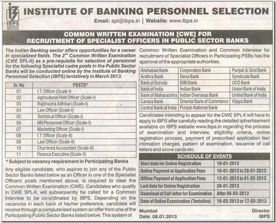 IBPS CWE Specialist Officers Exam 2013 Advertisement