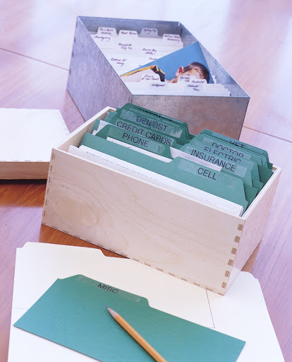 Create a custom Rolodex by cutting file folders to make index dividers.