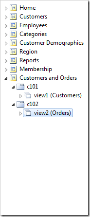 'Customers' and 'Orders' data views have been instantiated as data views in separate containers.