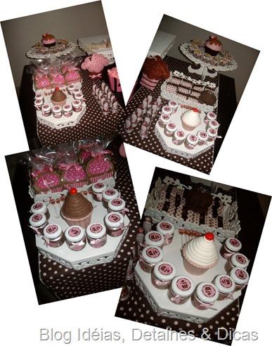 festa marrom e rosa tema cupcake 2