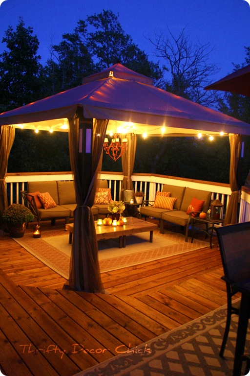 deck gazebo at night