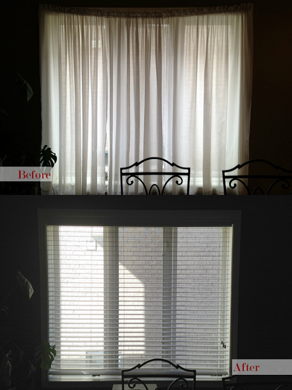 Blinds in Dining Room - Before and After