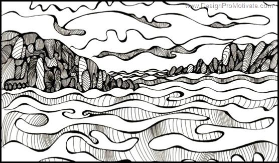 tidal mosaic contour drawing
