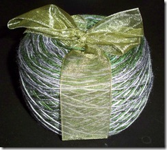 Three Ewes Twisted in Fiber green-grey stripe