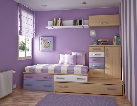 Bedroom Interior Design minimalist violet for women