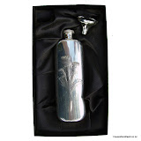 Hip Flask with Scotch Thistle, Genuine Pewter, 3oz