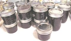 Blackberry jam 1.14.13  4 finished jam 13 and 3