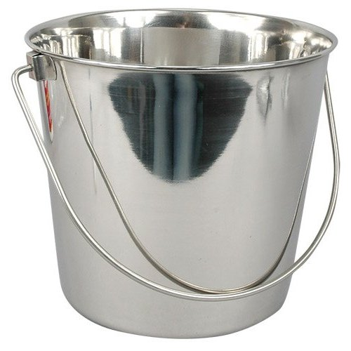 Stainless Steel Buckets are a must-have in my home.  They are sturdy enough to handle home improvement duties, such as mopping or lugging materials around, or chic enough to pull side-duty as a champagne bucket filled with ice!
