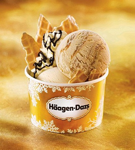 HAAGEN-DAZS CHRISTMAS DELIGHT Tiramisu ice cream and decadent Crème Brulee  ice cream crunchy waffle bits or cone.