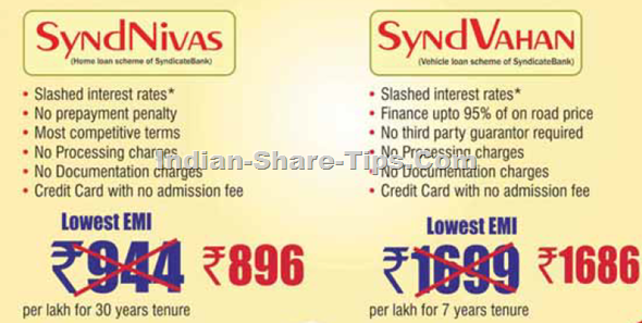 Syndicate Bank Home Loan & Car Loan Rates