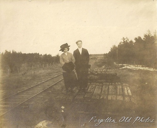 Standing the the Railroad ties PR Antiques