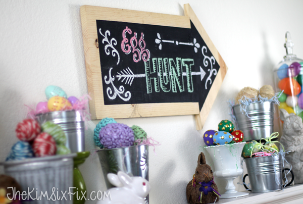 Chalkboard egg hunt sign