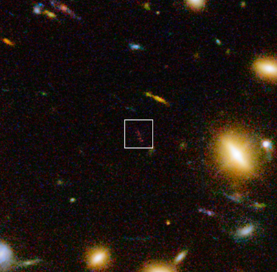 galáxia A1689-zD1 no visível e infravermelho