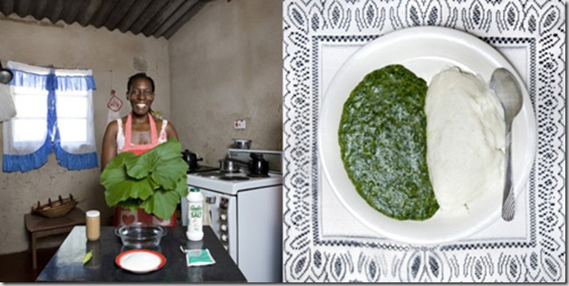 Flatar Ncube, 52 years old, Victoria Falls, Zimbabwe. Sadza, white maize flour and pumpkin leaves cooked in peanut butter