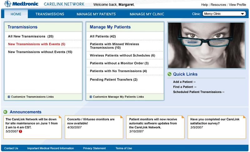 Medtronic interface in the browser