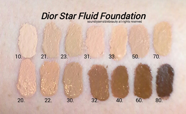 Dior Star Fluid Foundation SPF 30; Review & Swatches of Shades; 10 Ivory, 21 Linen, 23 Peach, 31 Sand, 33 Apricot Beige, 50 Honey Beige, 70 Mocha, Light Beige, 22 Cameo, 30 Medium Beige, 32 Rosy Beige, 40 Honey Beige, 60 Dark Beige, 80 Ebony