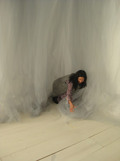 Katie fluffing the tulle