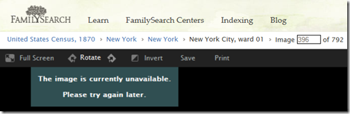 Old FamilySearch links display misleading message