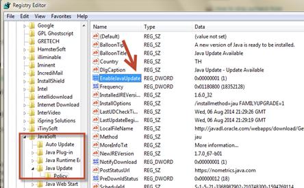ยกเลืกการแจ้งเตือนอัพเดท java ใน windows 7