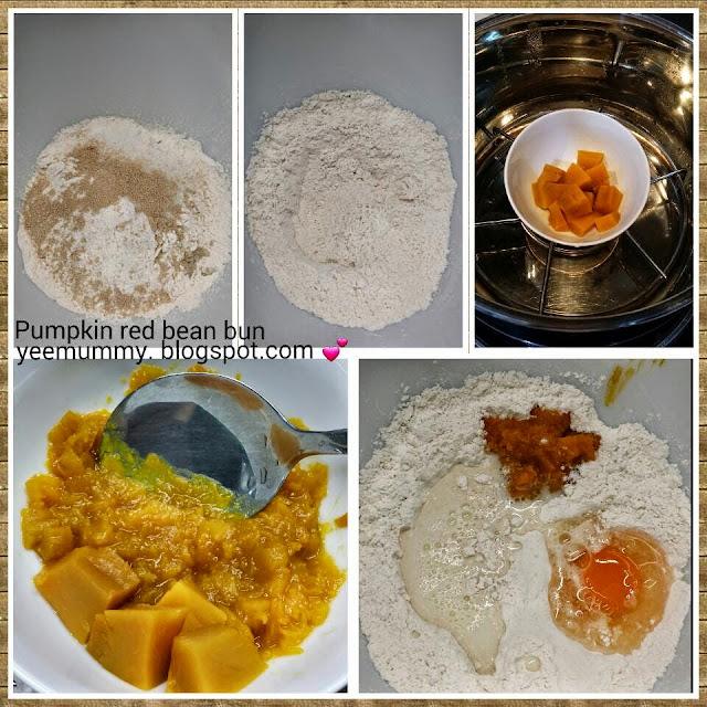 Pumpkin red bean bun 南瓜红豆卷