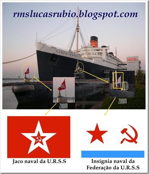 Queen Mary e submarino da União Soviética (RMS Lucas Rubio)