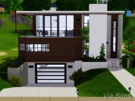 Seafront home via sims for Casa moderna los sims 3