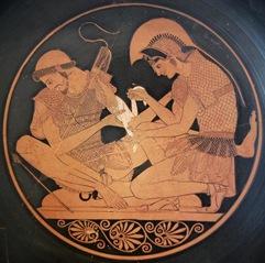 Cerámica ateniense de figuras rojas, Aquiles vendando a Patroclo