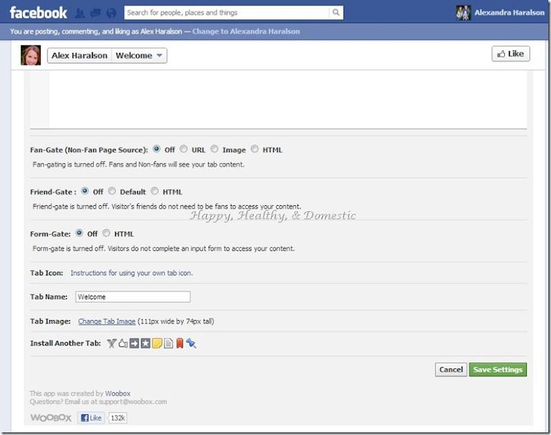 7 Custom FB app tabs change tab image