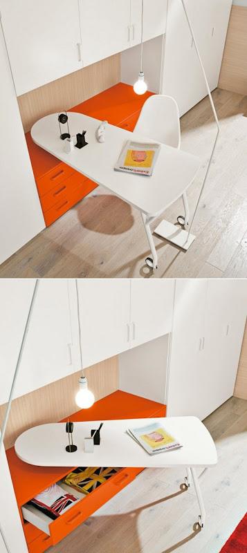 escritorio de ruedas naranja y blanco