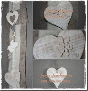 beige deurhanger met houten hart b