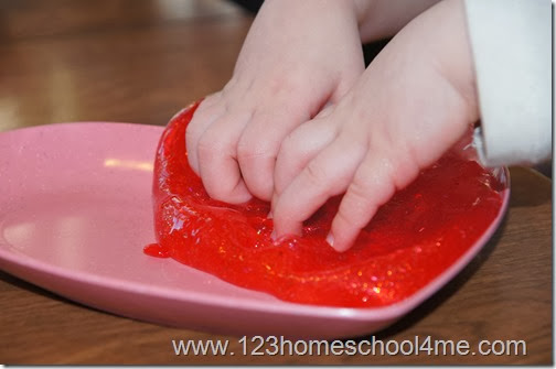 Red Hot Slime Recipe Vlaentine's day Kids Activity