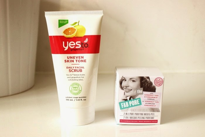 Yes To grapefruit uneven skin tone daily facial scrub soap and glory fab pore 2-in-1 pore purifying mask and peel