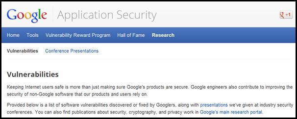 Documento online da Google com informaçoes de vulnerabilidade encontradas