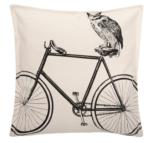 (Owl & Bike Canvas Pillow, burkedecor.com)