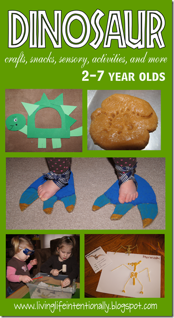 Dinosaur crafts, snack, sensory, activities, and more for tot preschool and k