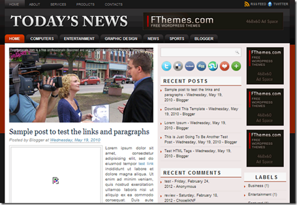 today news blogger template