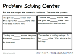 Problem Solving Sheet Using Dice Free