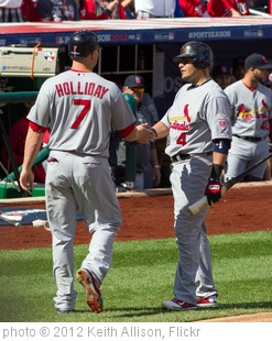 'Matt Holliday, Yadier Molina' photo (c) 2012, Keith Allison - license: http://creativecommons.org/licenses/by-sa/2.0/