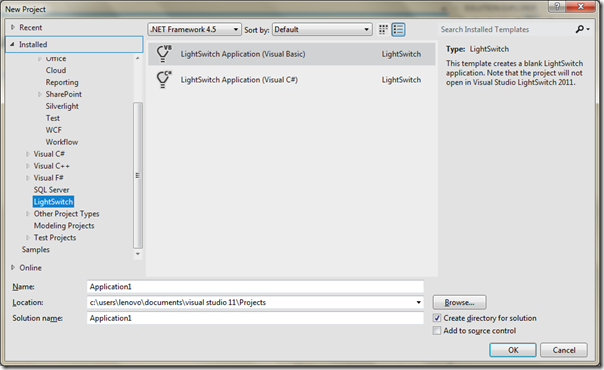 Visual Studio 2011 Beta feature seires - Light switch project template