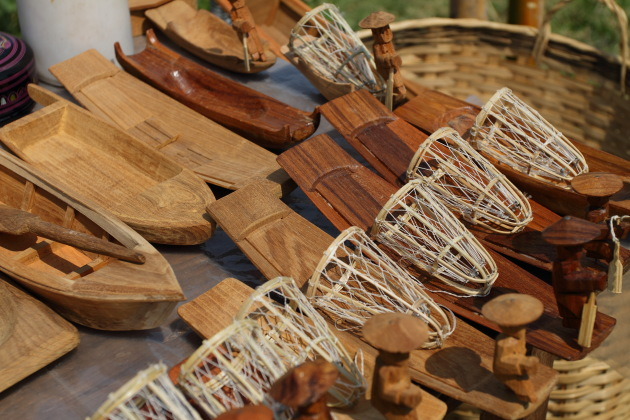 Wooden Inle Fisherman Boats sold as souvenirs