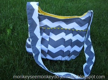 yellow and gray chevron pleated bag