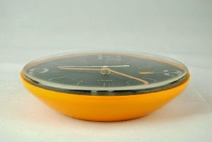 yellow orange Siemens Electronic wall clock side