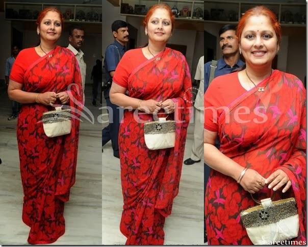Jayasudha_Red_Printed_Saree